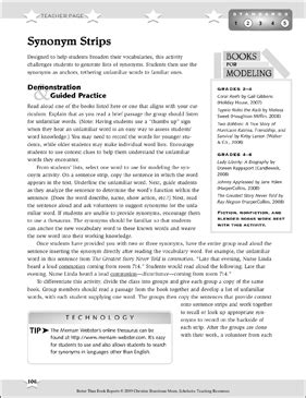 Synonym Strips: Better Than Book Reports | Printable Book