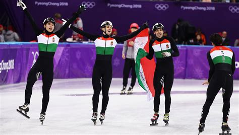 Hungary race to gold in men's short track 5,000m relay