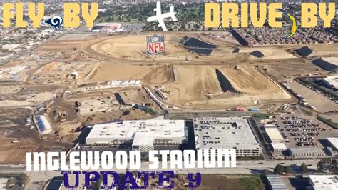 Inglewood NFL stadium Fly over and drive by   Construction