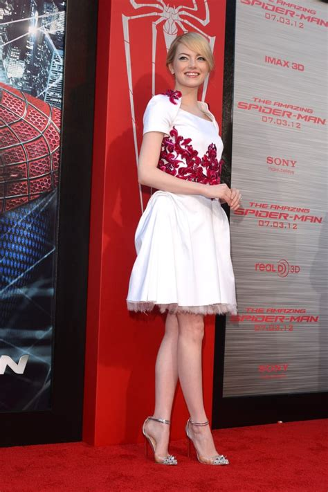 Emma Stone in White Chanel Dress Pictures at The Amazing