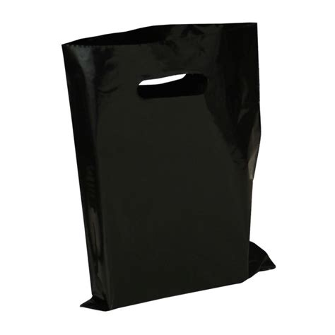 Black Plastic Bags With Punched Out Handles   Plastic