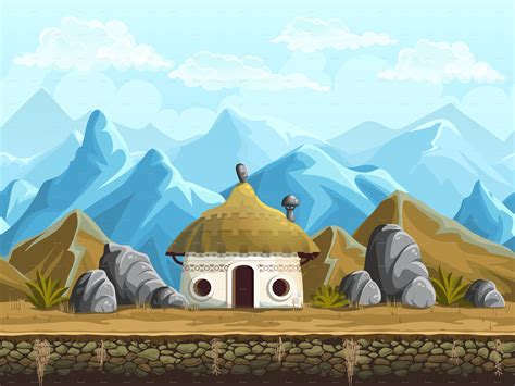 Hut in the mountains - seamless background by Nearbirds