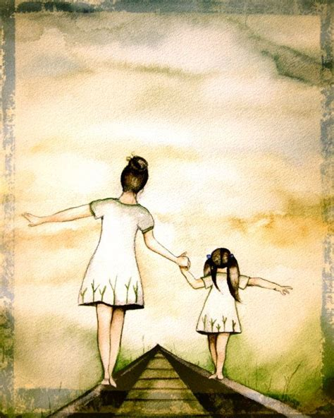 """Mother and daughter """"our path"""" art print, vintage version"""