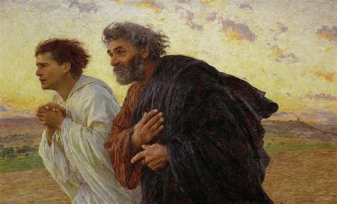 """""""Apostles Peter and John hurry to the tomb on the morning"""