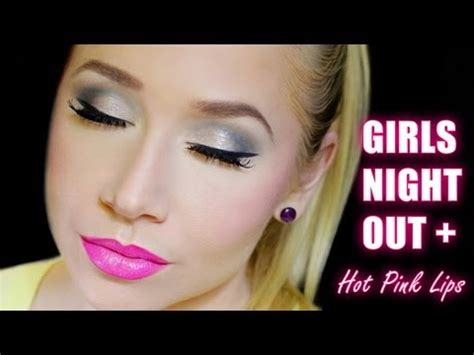 Girls Night Out Makeup with Hot Pink Lips - YouTube