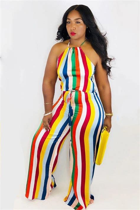 Vertical Striped Jumpsuit with halter and sleeveless design