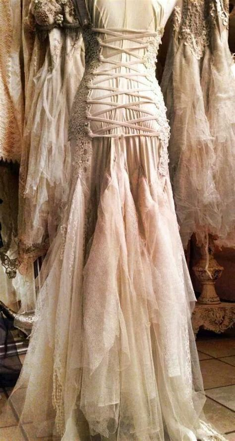 Celtic back lacing tulle gown