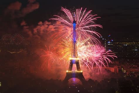 Spectacular Fireworks at the Eiffel Tower for Bastille Day